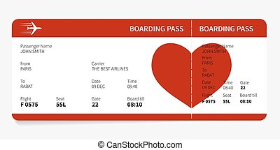 Red boarding pass with heart, Vector illustration