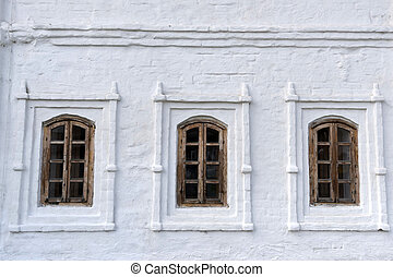 Old wooden window - Old vintage weathered wooden window of...