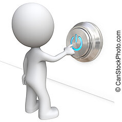 Power Button. - Dude 3D character pushing large Power Button...