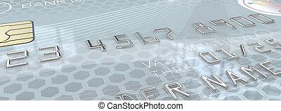 Macro Light Blue Credit Card. - Panorama Macro view of...
