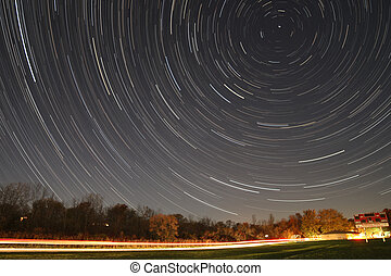 Star Trail Over Soccer Field Scenic Background - Star trail...