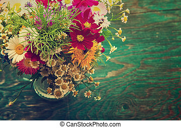 Summer flowers mock up - Bouquet of fresh summer flowers on...
