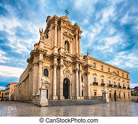 The Cathedral of Syracuse, an UNESCO World Heritage Site in...