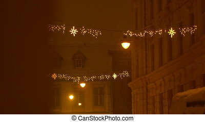 Christimas City Lights Ornaments - Snowing night in the city...
