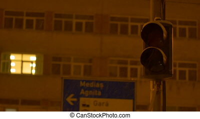 Snowing Night Traffic Lights - Night traffic light pulsating...