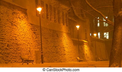 Night Snowing in Old City - Peacefully snowing near a lamp...