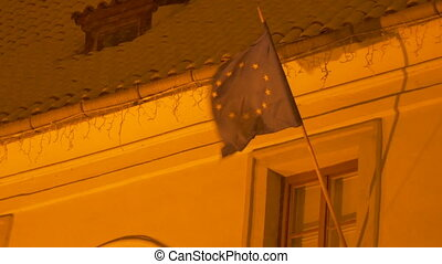 European Union Snowy Flag - The European Union Flag on a...