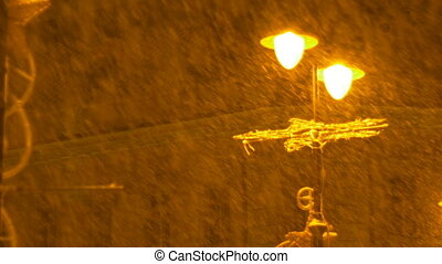 Lamp Post Heavy Snowing - Heavy snowfall in the night seen...
