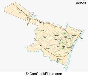 map of Albany the capital of the US State of New York