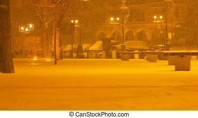 Nightime Snowing in Oldtown - Night snowfall in the oldtown...