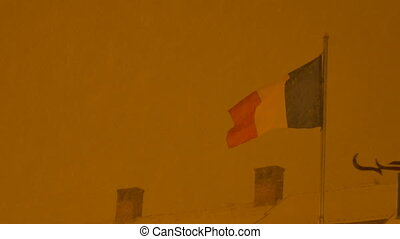 Romania Flag in Night Snowing - Romanian flag waving in a...