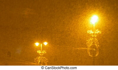 Dense Snowing Night - Thick snow precipitation durint a...