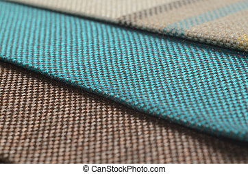 Bright collection of colorful gunny textile samples. Fabric texture background