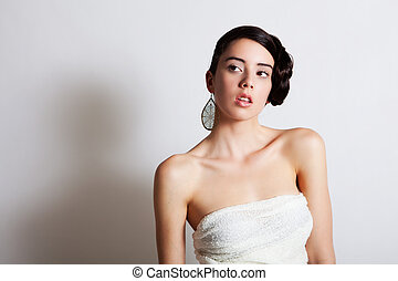 Elegant Young Woman Modeling a Dress