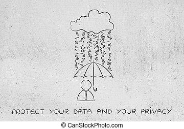 user with umbrella under binary code rain, data breach...