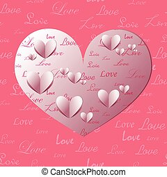 Paper Heart Shapes Decorated with Text Patterns. Vector EPS...