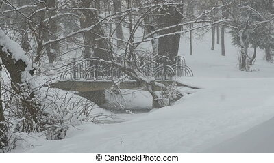 Snowing Bridge in Park - A bridge in the park during a...