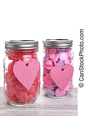 Two Jars of Valentines Candy - Two canning jars filled with...