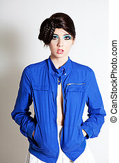 High Fashion Young Woman in a Blue Jacket - Beautiful young...
