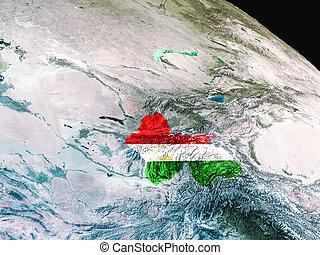Flag of Tajikistan from space - Tajikistan with embedded...