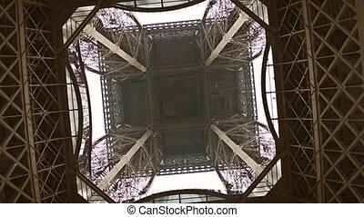Eiffel tower, center view from below. 4K rotation video -...