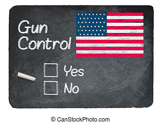 Gun Control choice using chalk on slate blackboard - Gun...