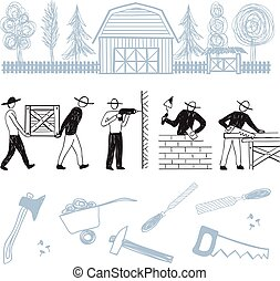 Construction workers repair house, tools and instruments -...