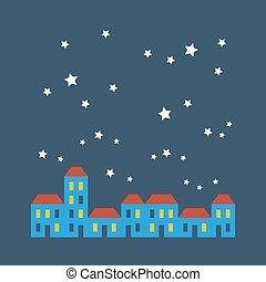 Street of houses under stars