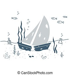 Shipwreck, sunken boat underwater - Sunken ship on the sea...