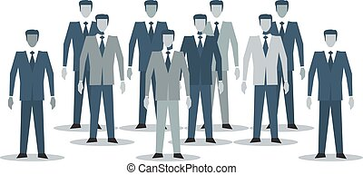 Business people standing together - Crowd of business men in...