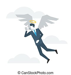 Good side of person - Business angel with wings, good...