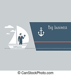 Business size comparison or enlargement - Big and small...