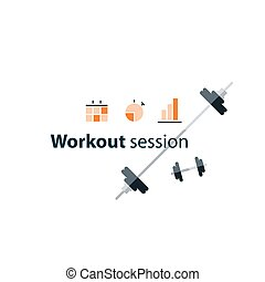 Sport gym workout session banner with icons - Workout...