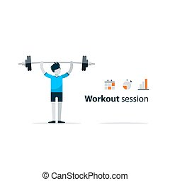 Sport gym workout session, person with barbell - Workout...