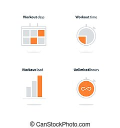 Daily sport activity icons set