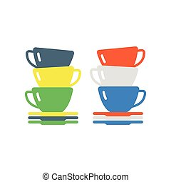 Clean cups and dishware illustration. - Tableware cup and...