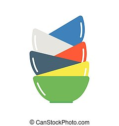 Clean dishware vector illustration. - Tableware and colorful...