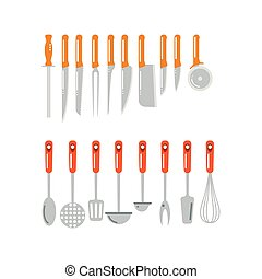 Kitchen home culinary equipment flat vector illustration. -...