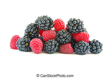 raspberry and blackberry on white isolated background