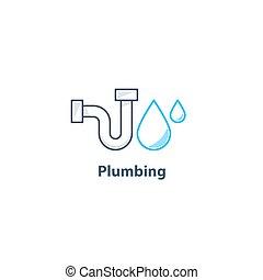 Tube and drop plumbing logo - Plumbing service logo, p-trap...