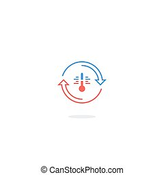 Heat icon, temperature control, insulation or refrigerator logo