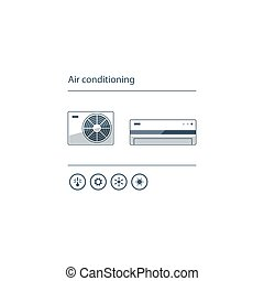 Air conditioning linear logo and icon