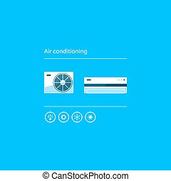 Air conditioning linear logo and icon - Ductless cooling and...