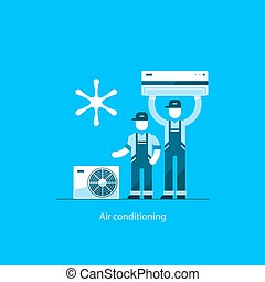Air conditioning concept - Home air conditioning service,...