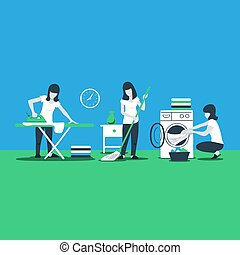 Cleaning house services, woman ironing - House work and...