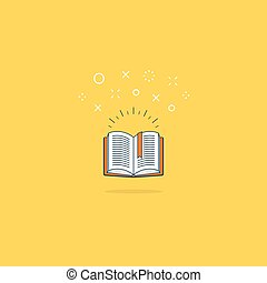 Opened book icon and logo - Amazing opened book. Library...