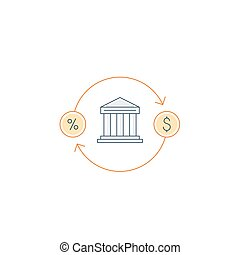 Cash back, money return, finance insurance and investment icon and logo