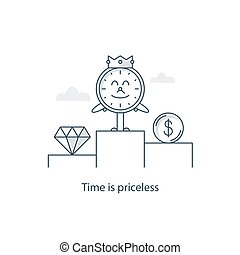 Priorities and choice - Time is priceless, money concept,...