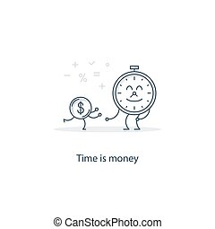 Finance education concept - Time is money concept, vector...