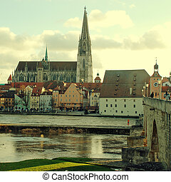 Regensburg (Bavaria, Germany) and Danube river - View of old...